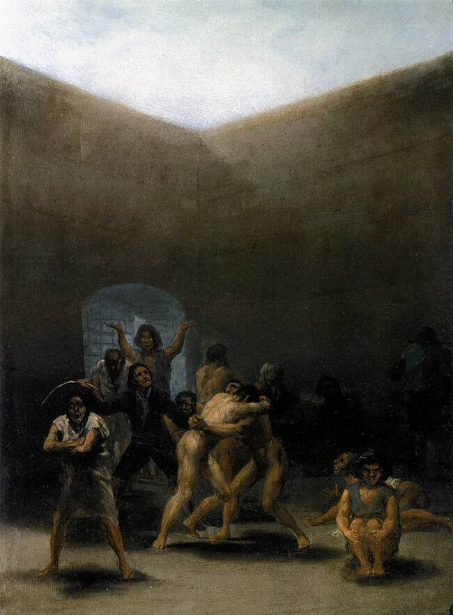 The Yard of a Madhouse, 1794 by Francisco Goya